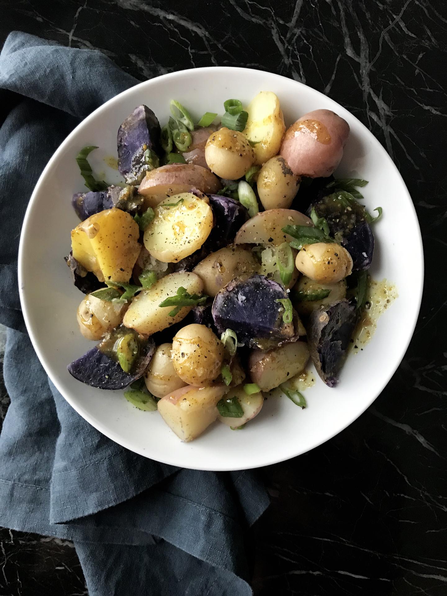 Warm Honey Mustard Potato Salad | Essential Omnivore